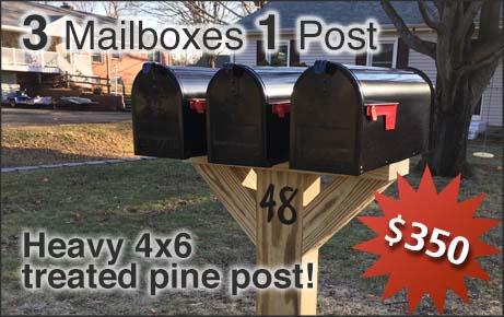 3 Mailboxes on 1 Post Installation Option